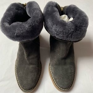 Jimmy Choo grey suede, shearling boot